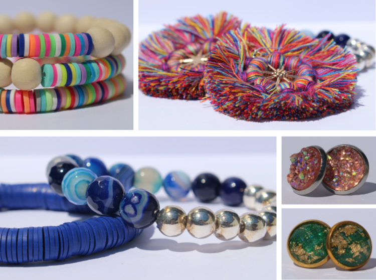Some of Intintoli's products, ranging from earrings to stackable bracelets. Photos by Kerri Kolensky.