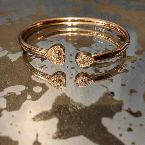 Matthia's & Claire 18K Rose Gold & Diamond Heart Cuff Bracelet, $5,095