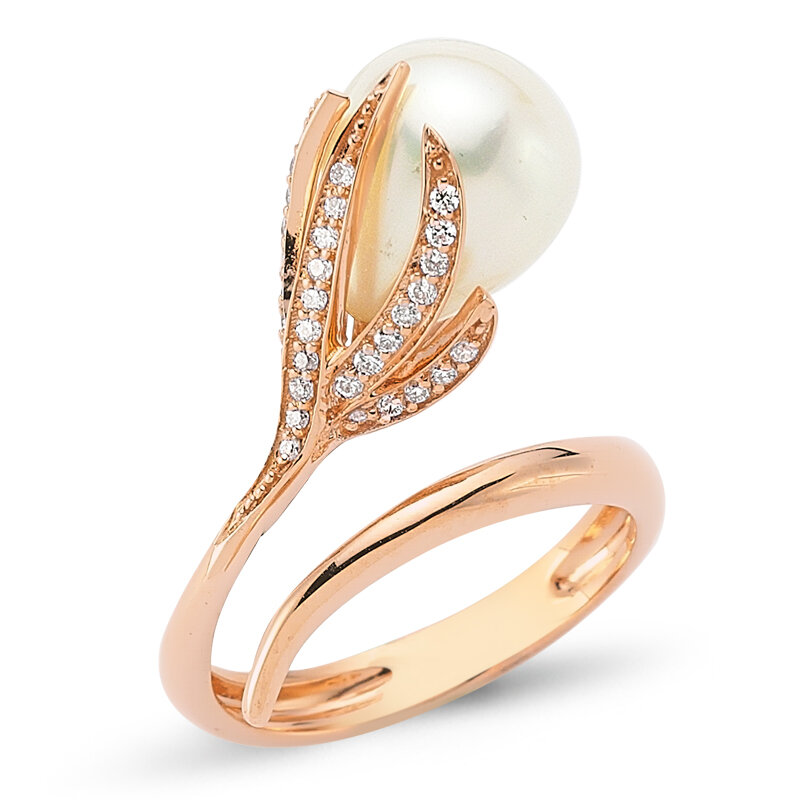 OWN Your Story 14K Rose Gold & Pearl Flower Ring with Diamonds, $1,650