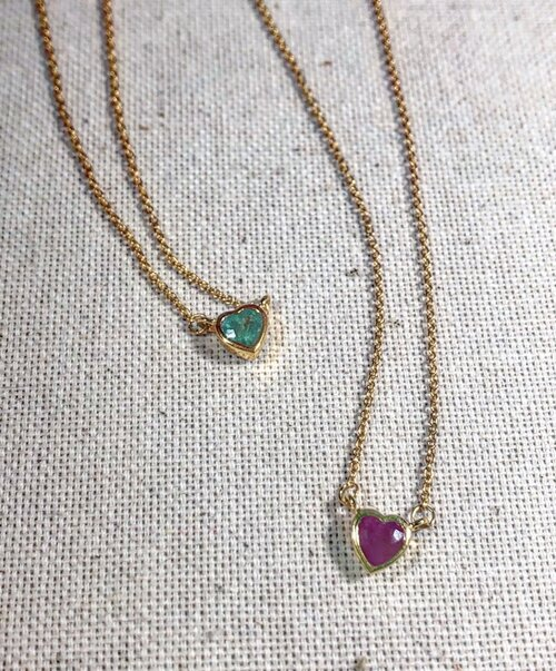 Atelier All Day 14K Gold Ruby and Emerald Heart Pendant Necklaces, $695