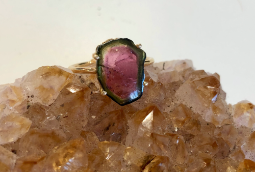 Anné Gangel Designs 18K Gold & Watermelon Tourmaline Ring, $1,344