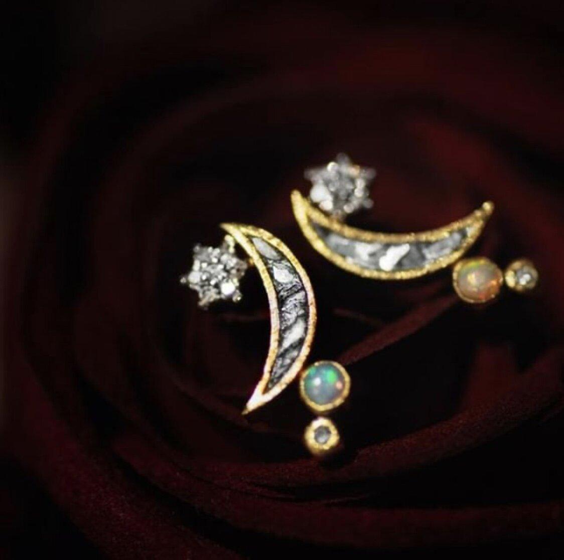 "Shana Gulati Jewelry 18K Gold Vermeil and 925 Sterling Silver Diamond and Opal ""Kolar"" Celestial Diamond Stud Earrings, $236"