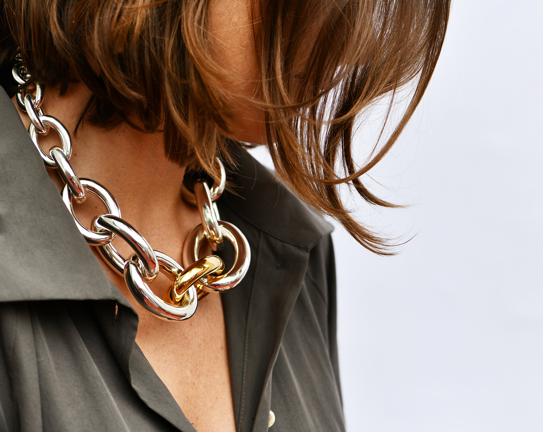 """TANE Mexico 1942 """"Niebo"""" Chunky Chain Necklace in 23K Gold Vermeil and 925 Sterling Silver, $2,199"""