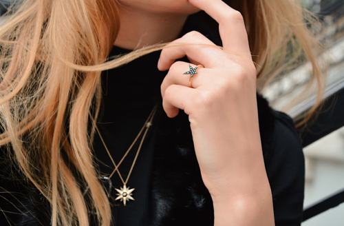 OWN Your Story Jewelry 14K Gold and Black Diamond Rock Star Celestial Ring, $695
