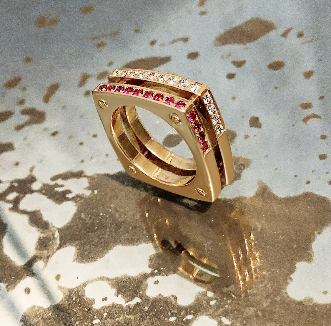 Matthia's & Claire 18K Gold, Diamond and Ruby Double Cube Ring, $6,895