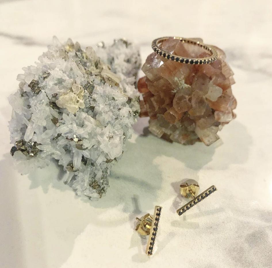 Atelier All Day 14K Gold and Black Diamond Bar Stud Earrings, $350