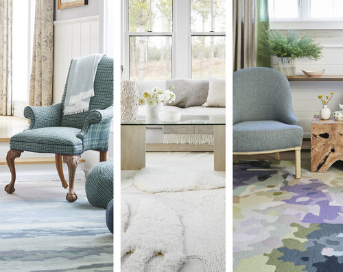 The three rugs of the introductory Canadian wool capsule collection.