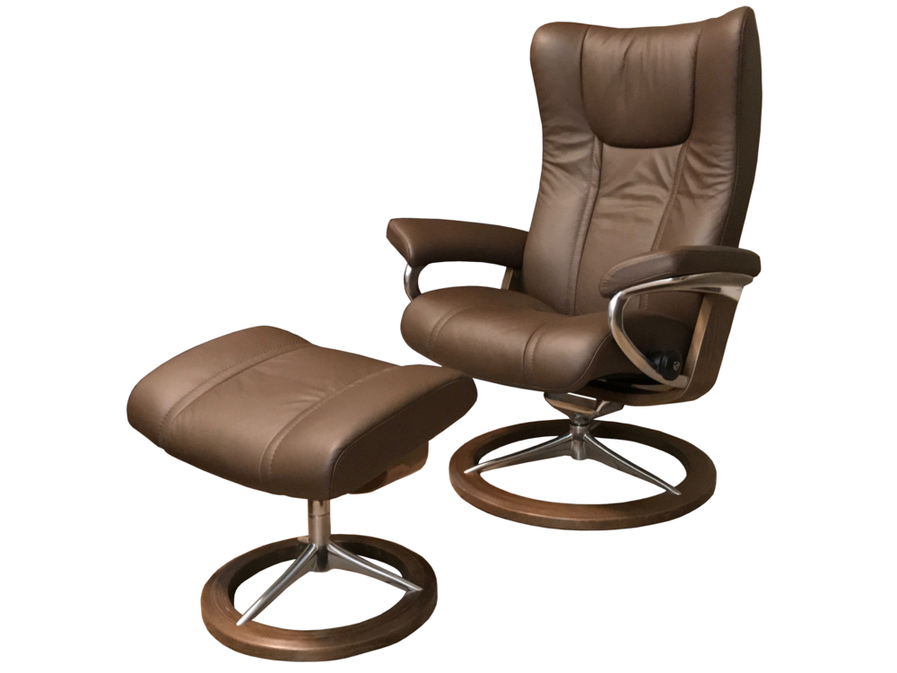 Ekornes Stressless Wing Leather Recliner W Ottoman Signature Base Gray Norway Stressforless Com