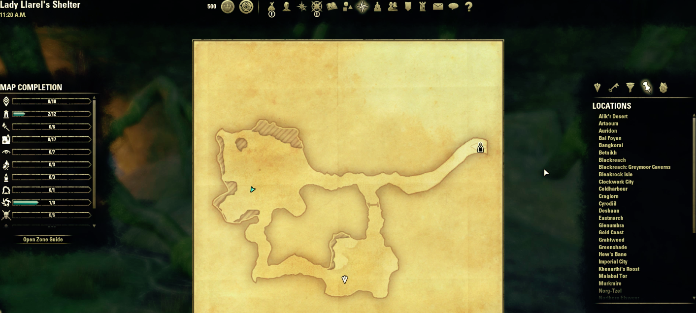 A typical Delve map from The Elder Scrolls Online.