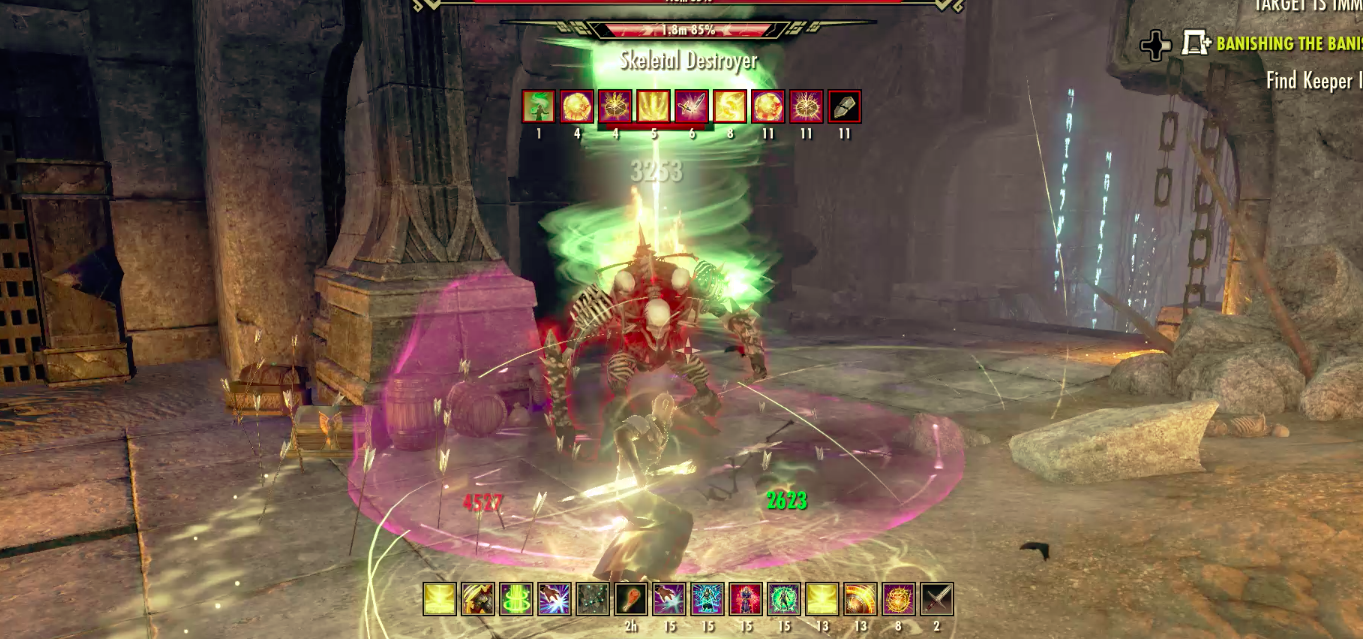 Soloing the Group Dungeon Veteran Banished Cells I with the Magicka Templar.