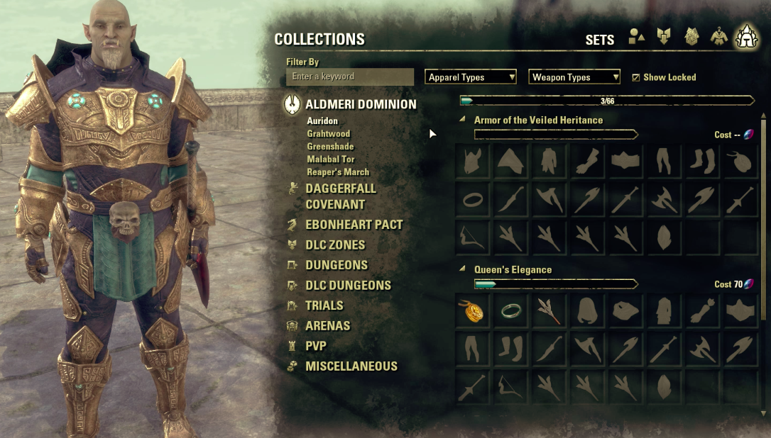The Set Collections Menu In ESO.