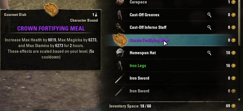 The Crown Fortifying Meal is a great buff to all stats.