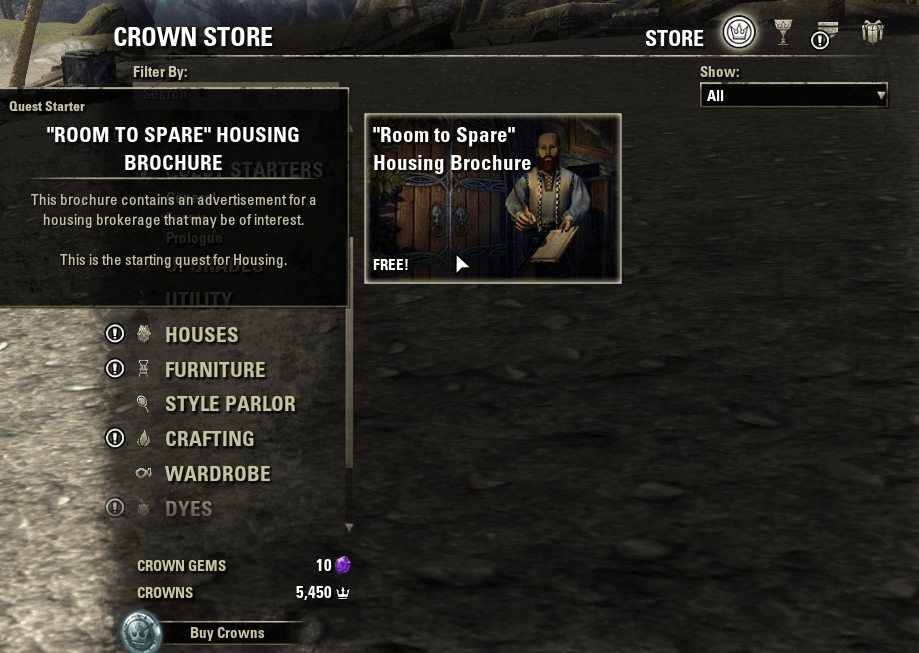 """Pick up the """"Room To Spare"""" quest (for free!) from the Crown Store to get your first starter home as soon as possible."""