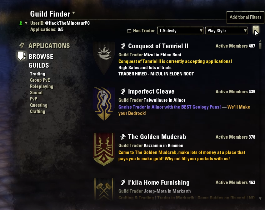 ESO's Guild Finder Tool is an extremely easy option for getting connected to just the right guild for you.