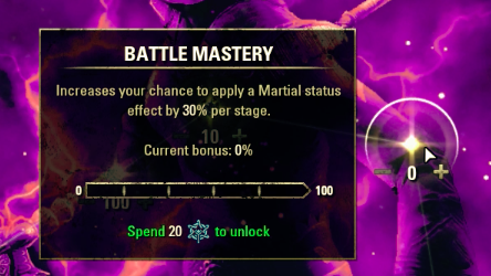 Battle Mastery has 5 stages, each costing 20 Champion Points.