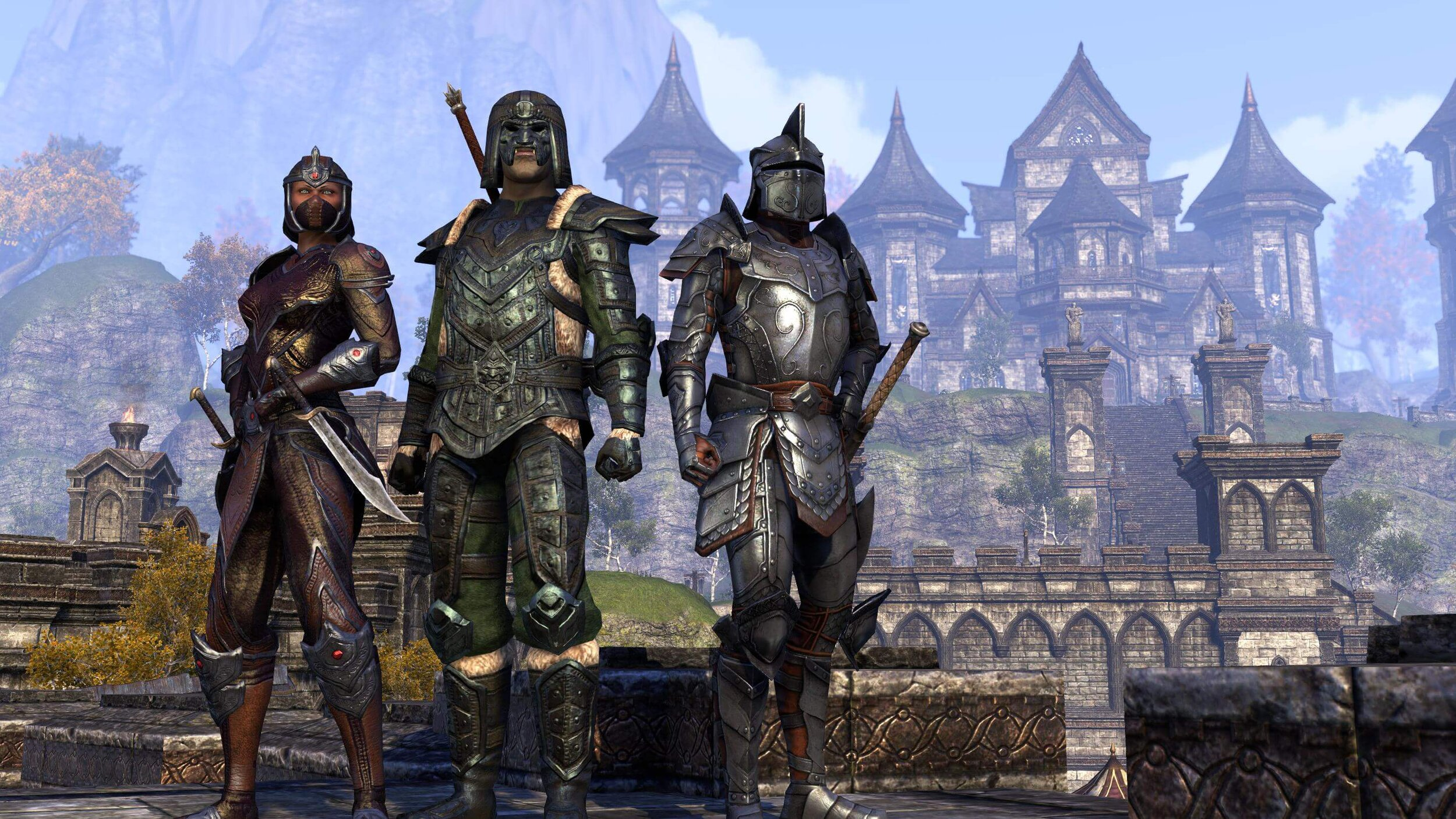 The Daggerfall Covenant includes the races of Orc, Redguard and Breton.
