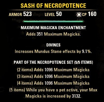 The Necropotence Set is a great option for any Magicka focused Pet Build.