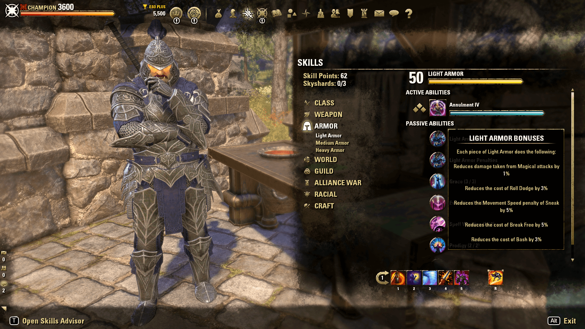 All Armor Types in ESO have Bonuses for each piece worn. Some armor types also have Penalties.