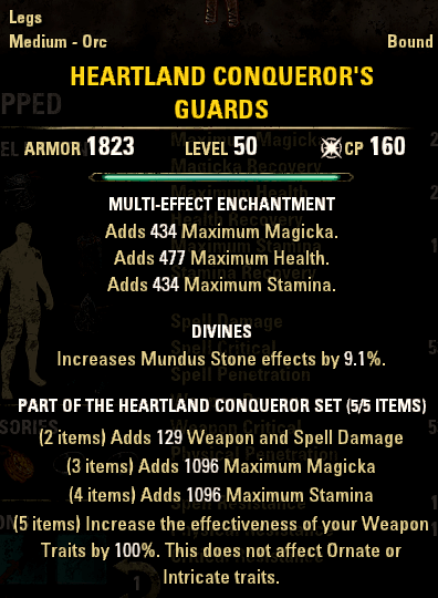 Crafted Sets like Heartland Conqueror can be crafted in any weight.
