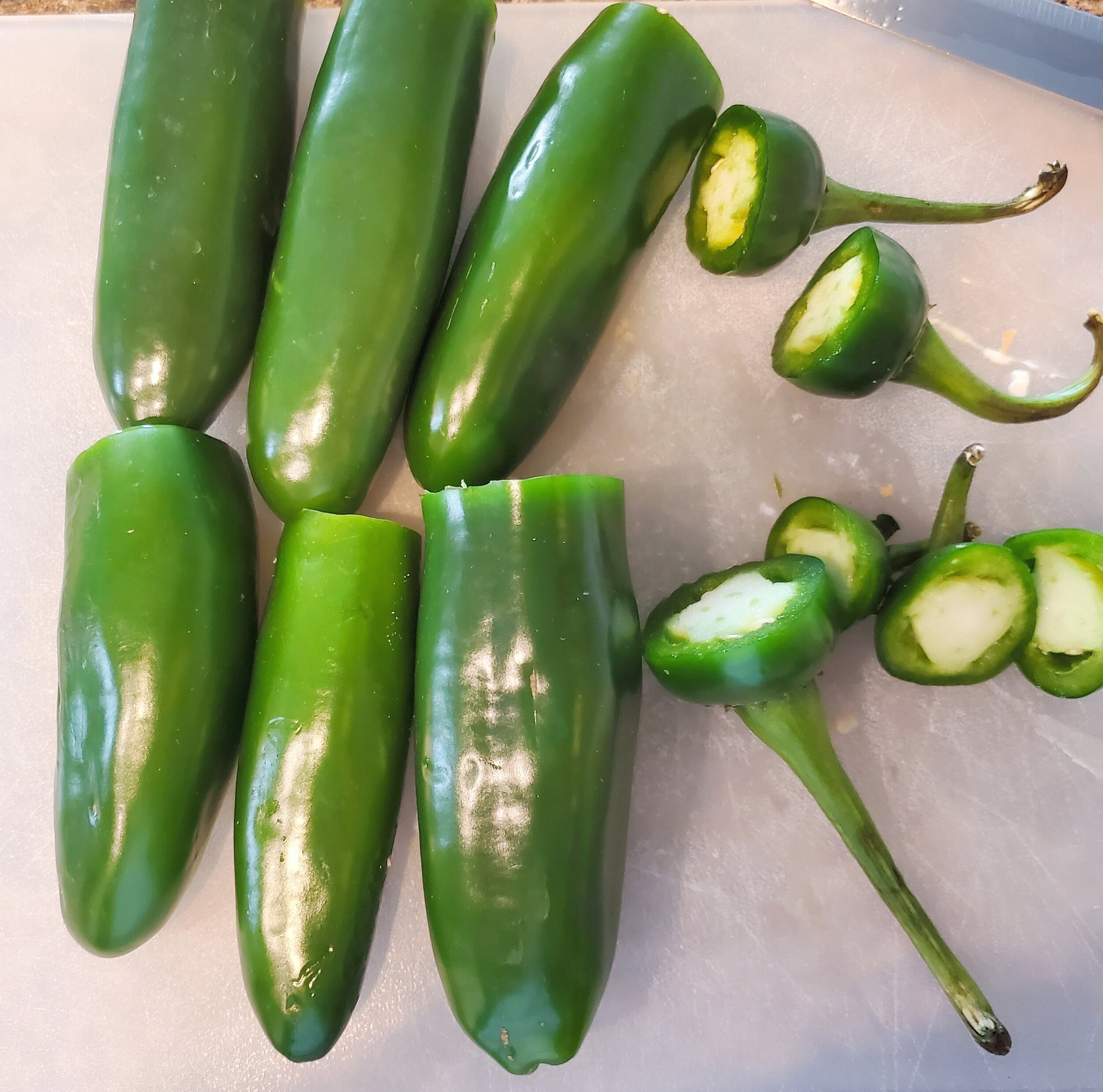 Cut the steams off the Jalapenos -