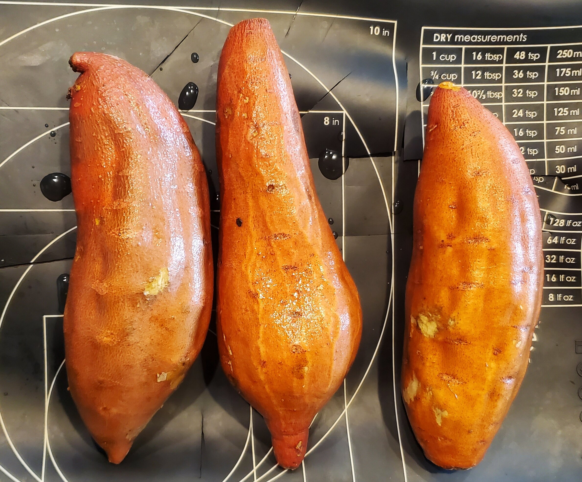 Roast the sweet potatoes at 400 degrees for 1 hour or… - Cut in half and roast at 425 degrees for 30 minutes.