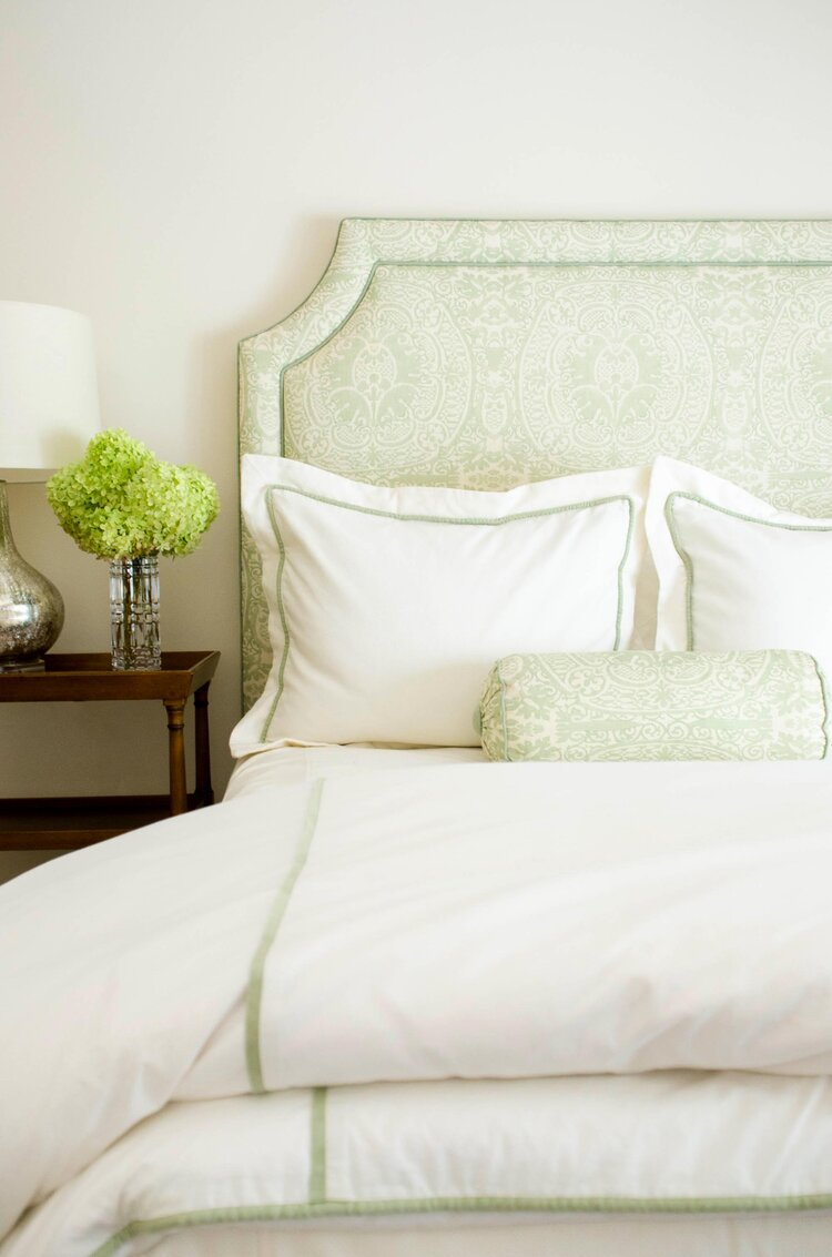 Jenny Allen Linens custom bedding by Kevin O'Gara Photography in Atlanta, GA
