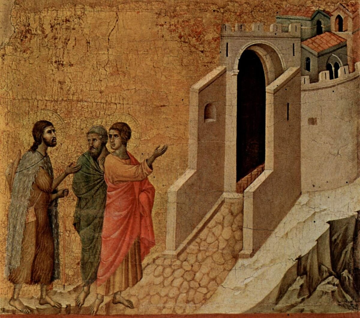 Image credit: Jesus and the two disciples On the Road to Emmaus, by Duccio, 1308–1311, Museo dell'Opera del Duomo, Siena