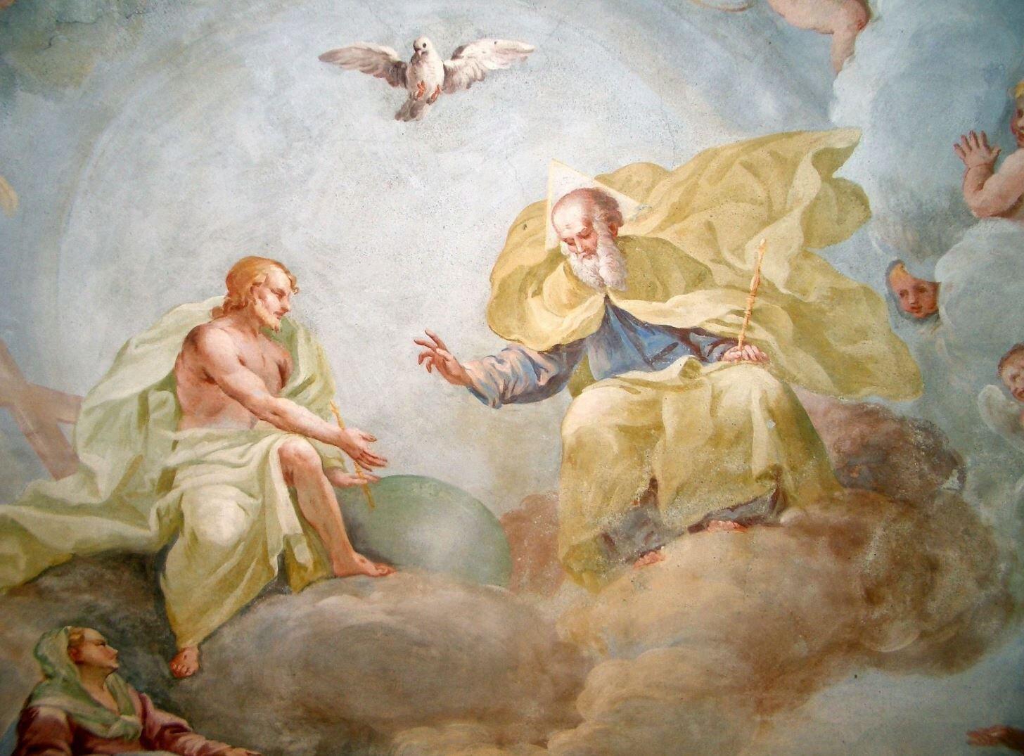 Holy Trinity by Luca Rossetti da Orta, 1738–9 (St. Gaudenzio Church at Ivrea, Torino), Image credit: Laurom, Public domain, via Wikimedia Commons