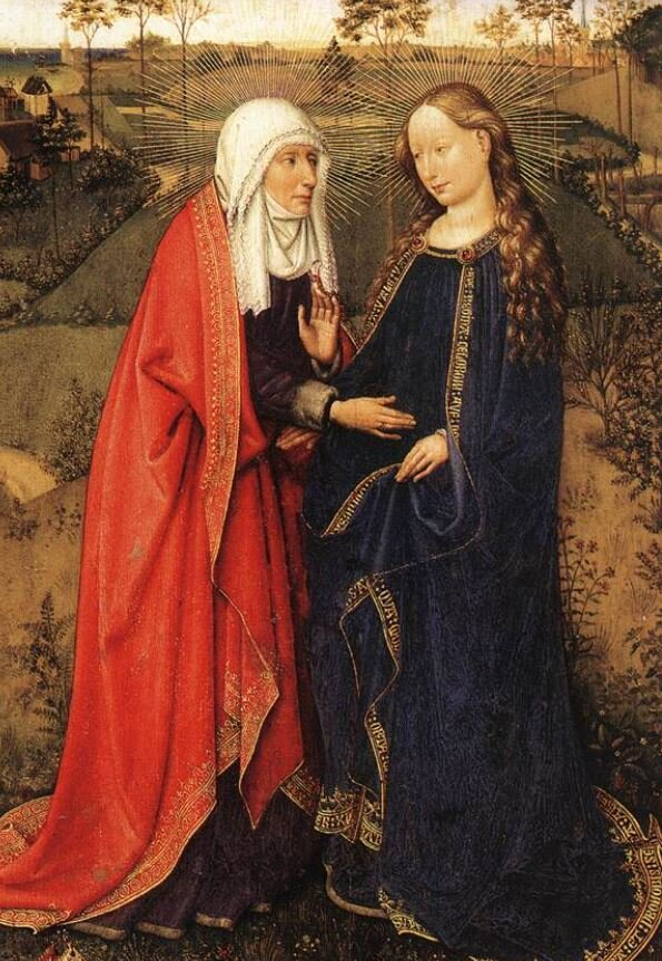 'Visitation' from Altarpiece of the Virgin (St Vaast Altarpiece) by Jacques Daret, Public domain, via Wikimedia Commons