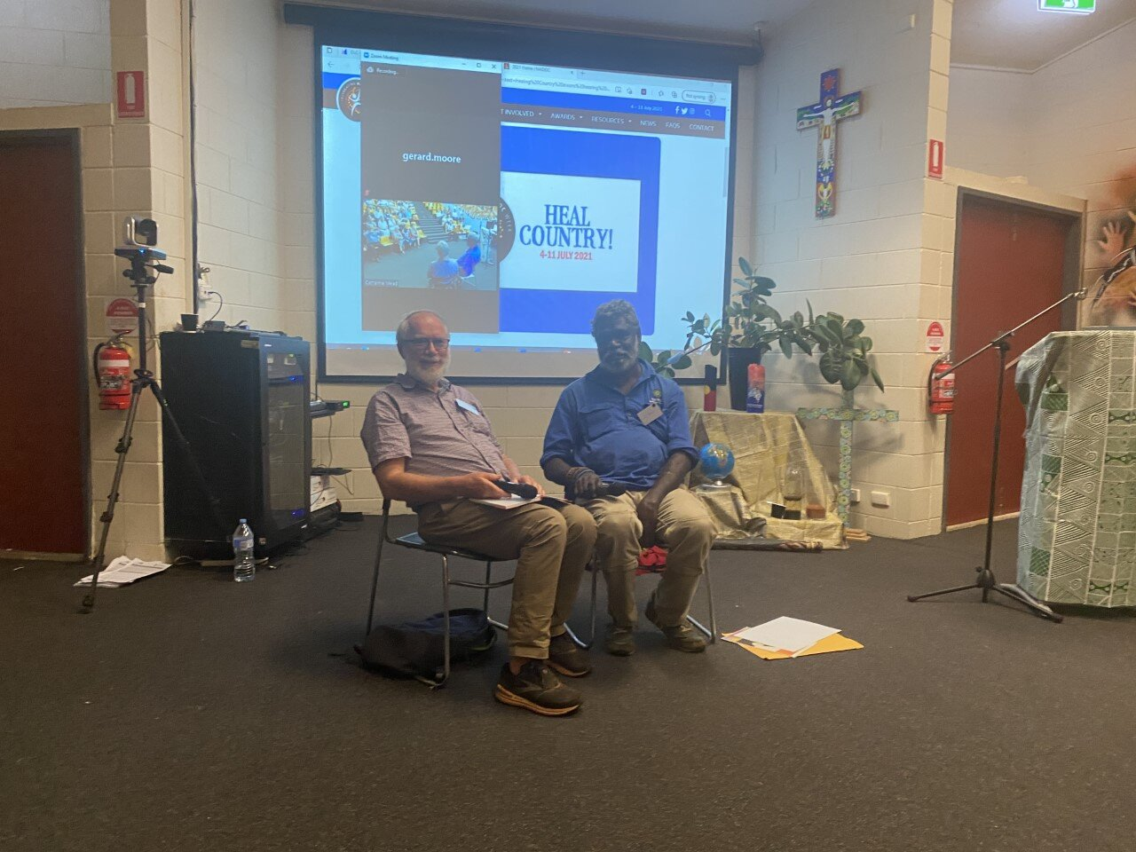 Left to right: Fr. Leo & William (from Wadeye Parish) during an interview at the Diocesan Leaders Gathering on Friday the 16th of July 2021