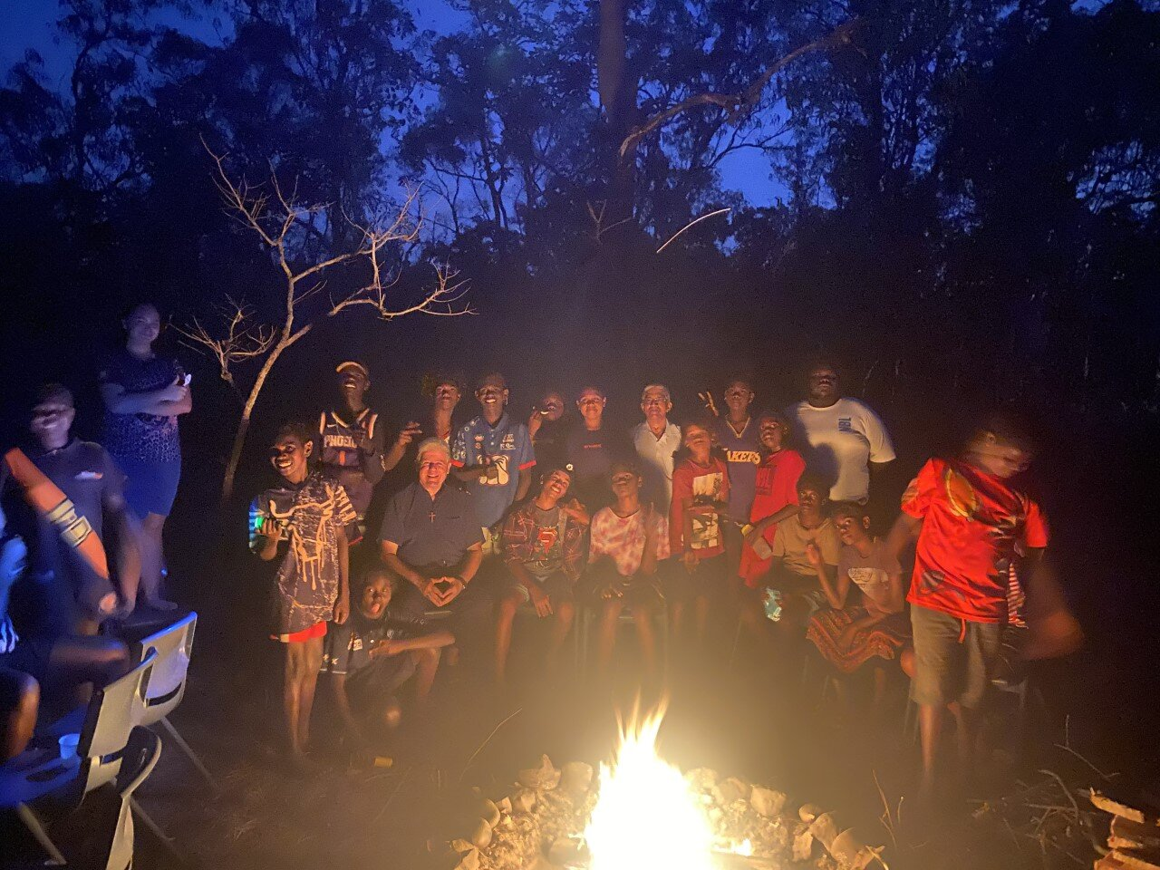 Students (from Xavier Catholic College Wurrumiyanga) on Tiwi islands after mass at bush camp with Bishop on 28th July 2021
