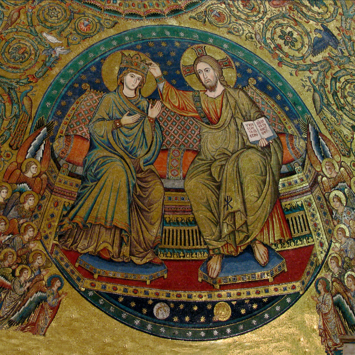 Image credit:  Apse mosaic depicting the crowning and queenship of the Blessed Virgin Mary -  https://www.catholiccompany.com/