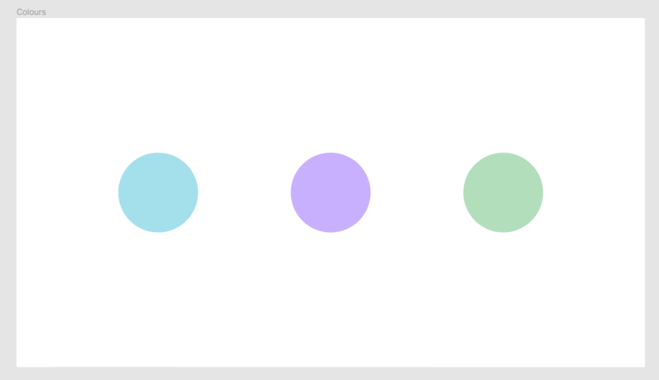 3 rounds of pastel colours: blue, purple and green.