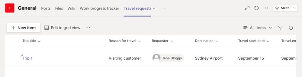 Travel requests
