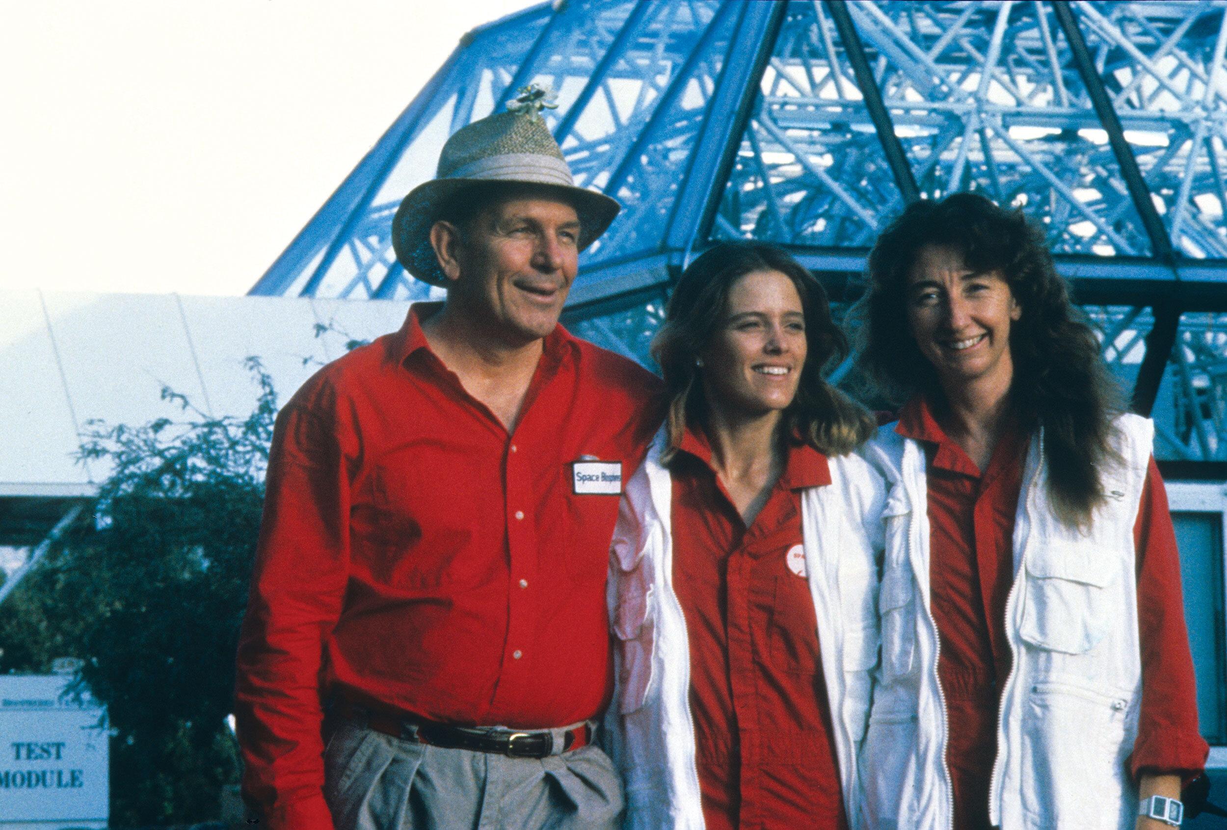 John Allen with biospherians Abigail Allay and Linda Leigh