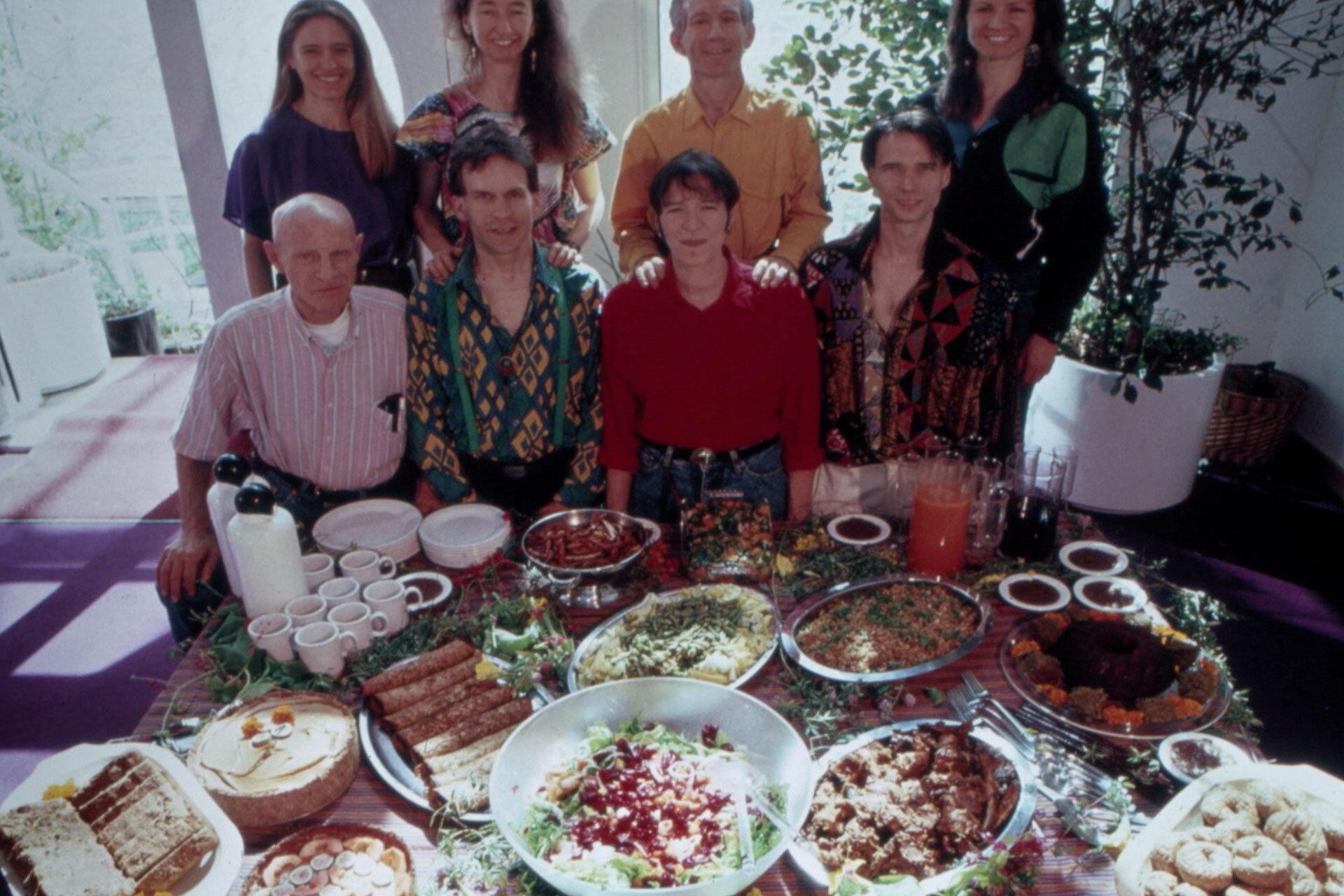 Biospherians enjoying a feast in the Biosphere 2