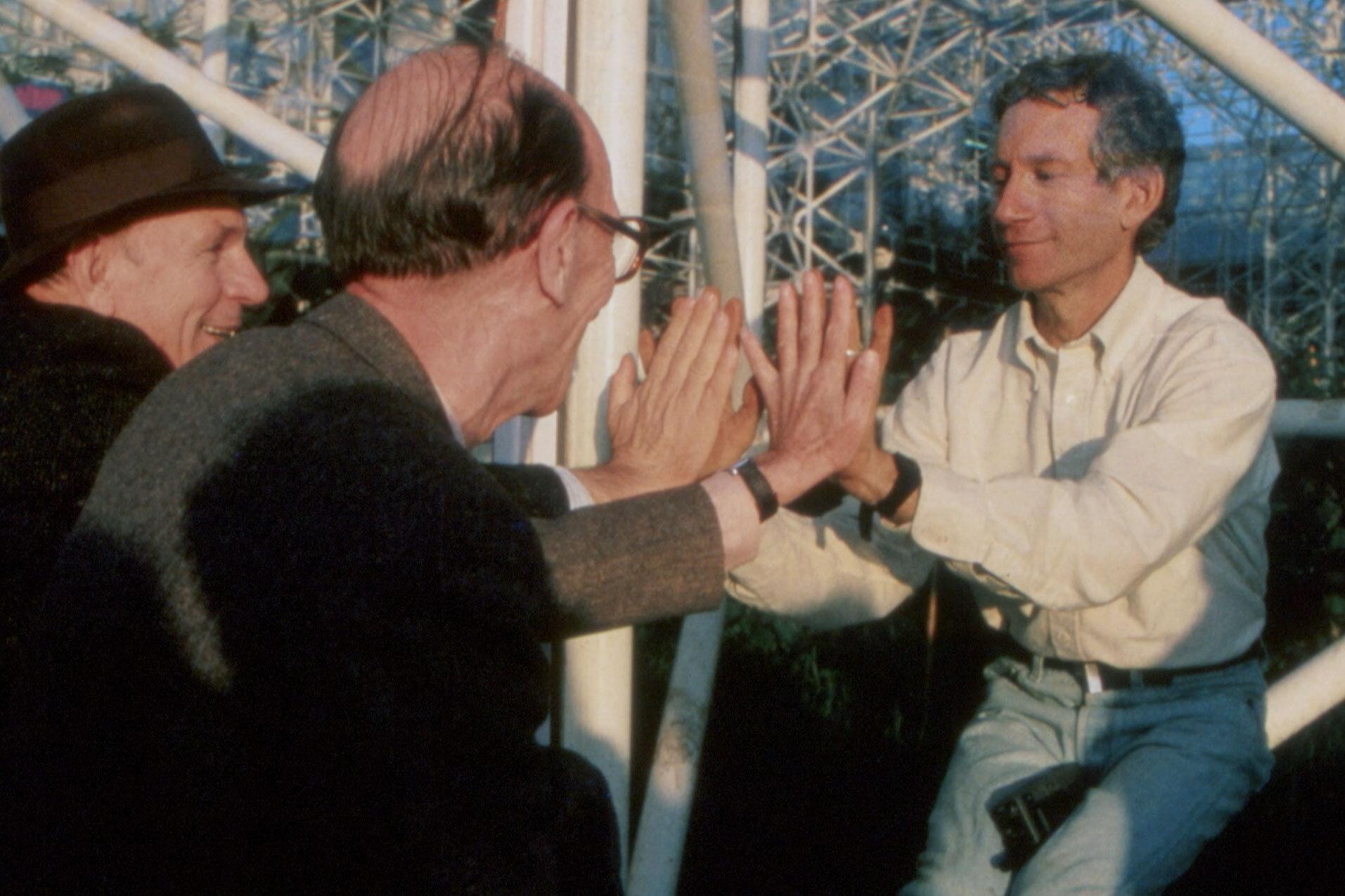 John Allen greets biospherian and ecologist Mark Nelson