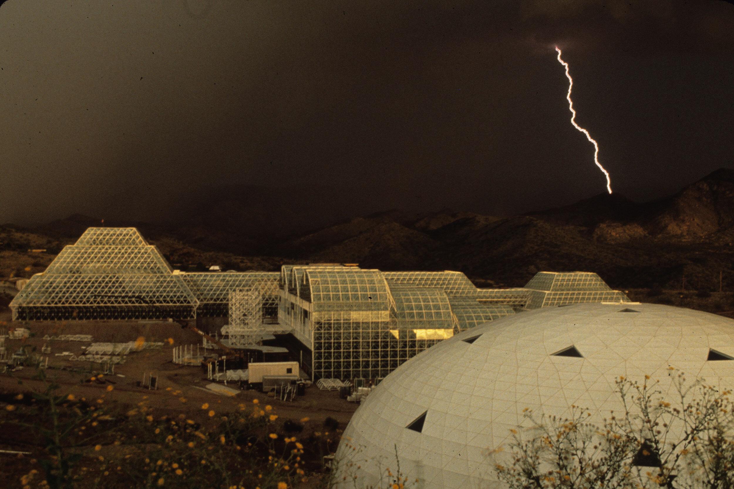 Lightning storm over Biosphere 2