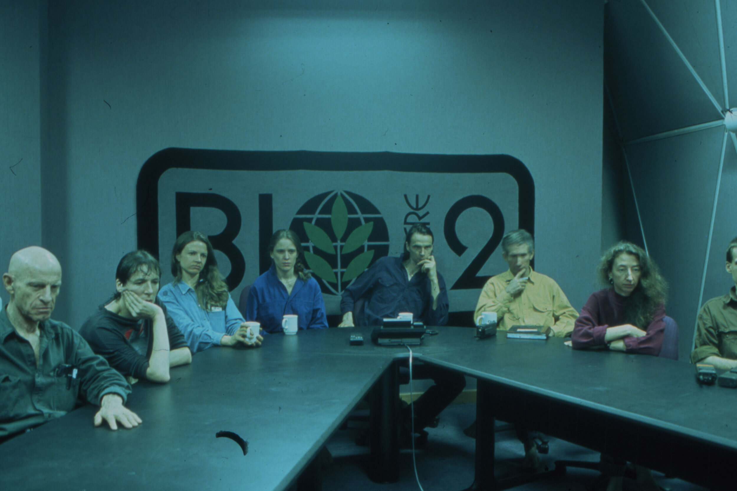 8 biospherians during a conference call