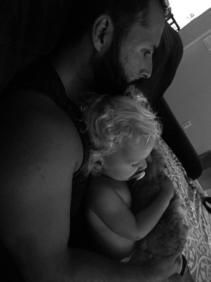 **one of my fav pics from last week because baby always likes to snuggle daddy on the couch**