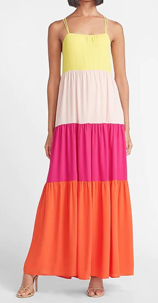 Express   Color Block Maxi Dress