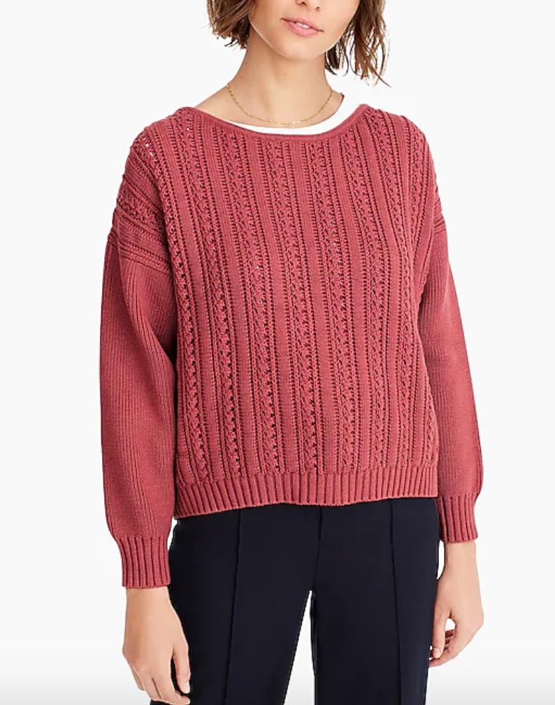 J. Crew ,  point sur boxy pointelle sweater