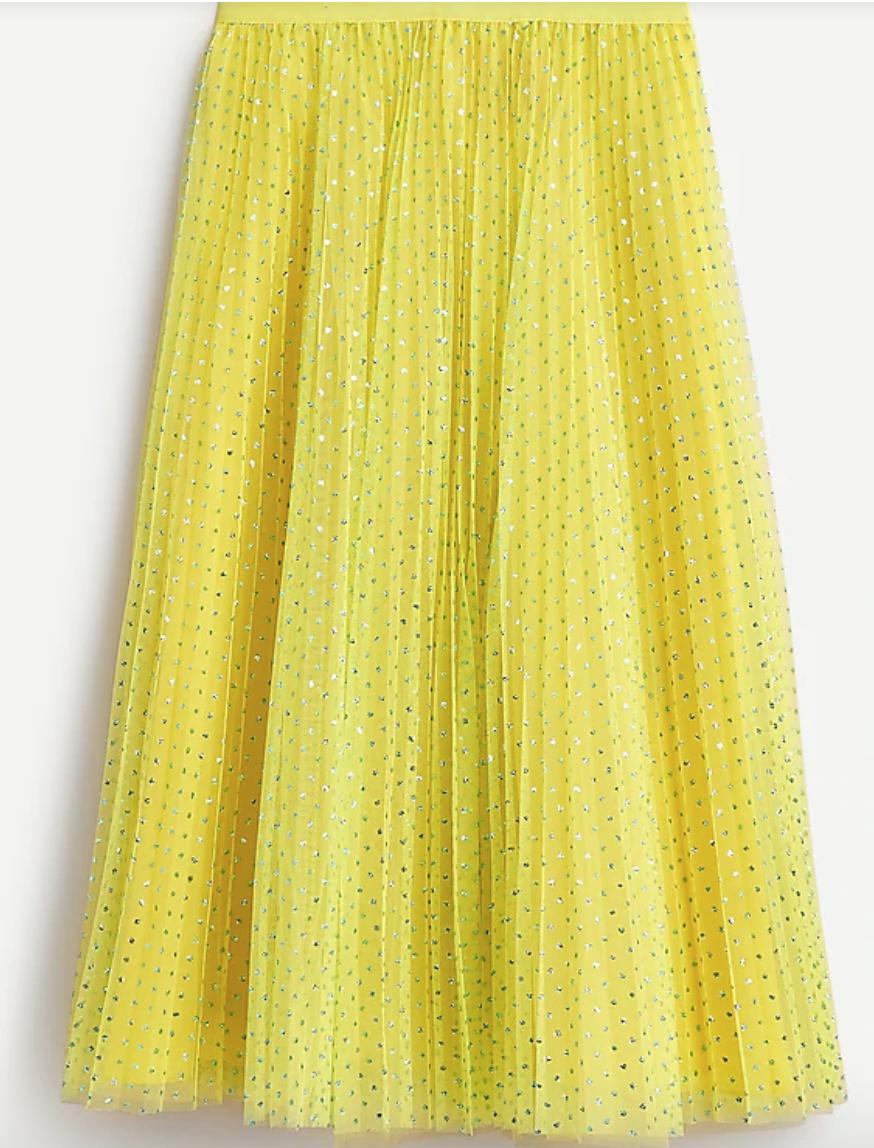 J. Crew,    tulle skirt with metallic dots