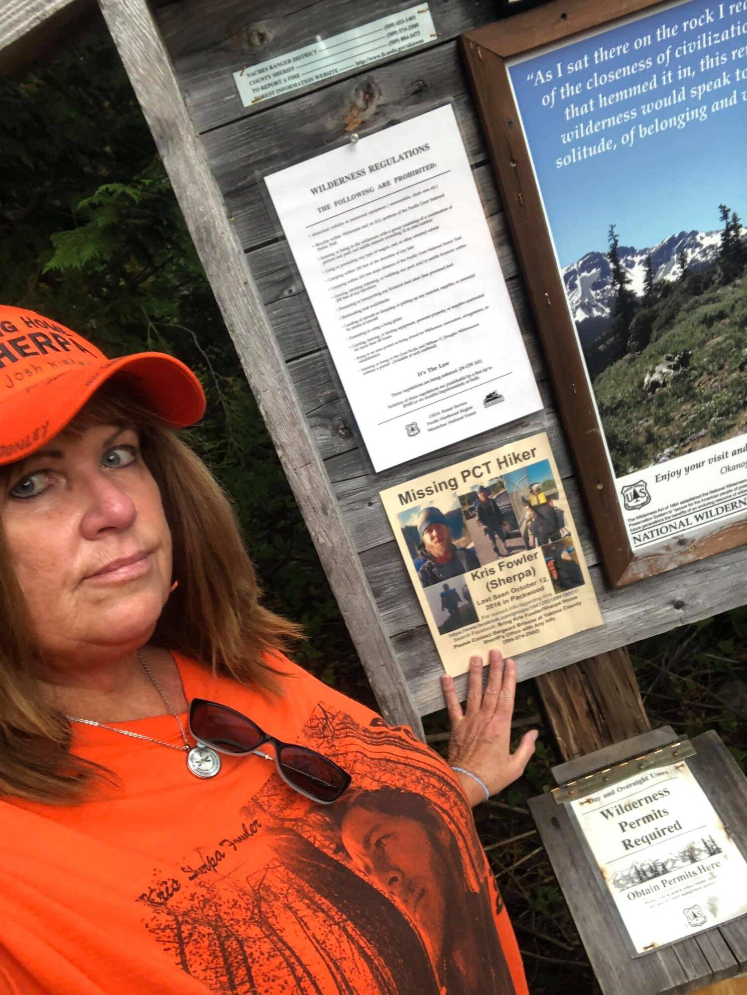 Sally Fowler at White Pass Trailhead PCT Washington