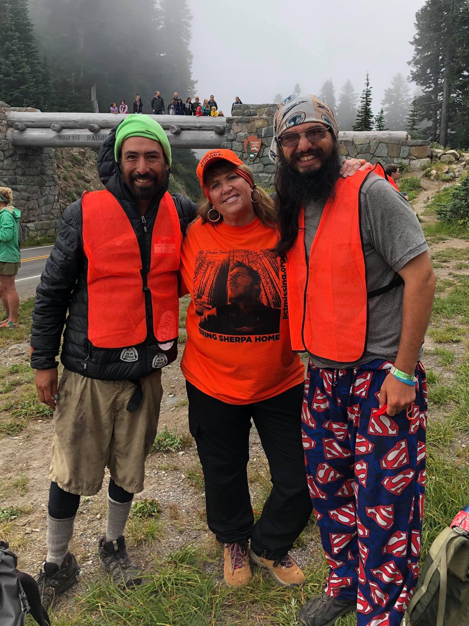 Sally with two PCT thru-hikers who volunteered to help find Kris