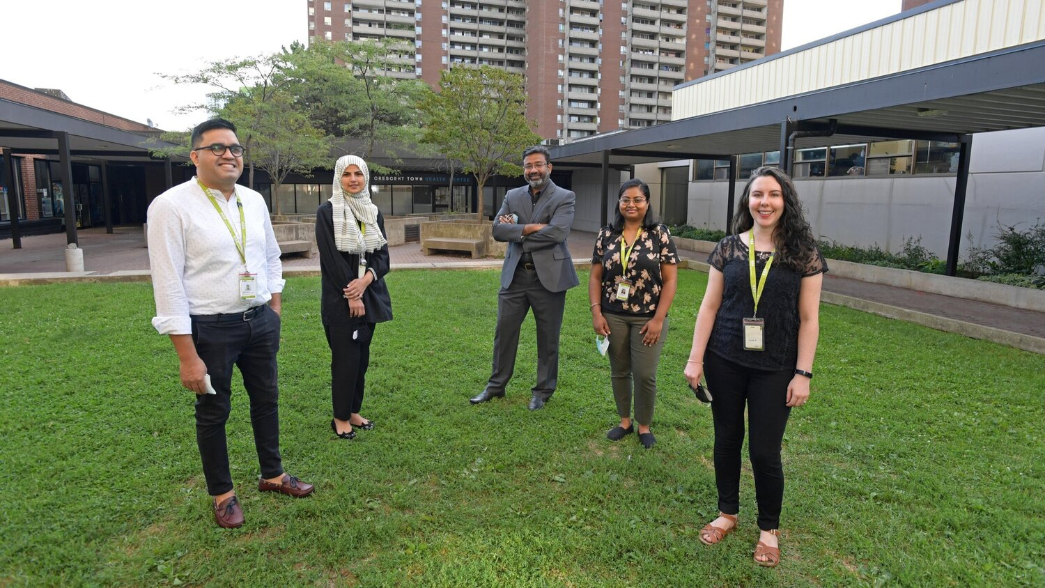 From left, Nadjib Alamyar, supervisor of newcomer coordinated care; Irum Nazir, case counsellor specialist; Mohan Doss, director of newcomer services; Tharnya Sivanithy, case counsellor specialist; and Sarah Ferguson, case counsellor specialist at WoodGreen Community Services.
