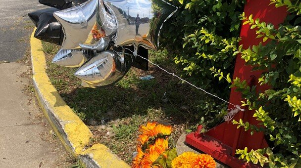 A memorial for one of the victims killed at the gas station at E. 139th/Kinsman