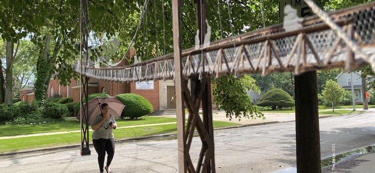 Artist Shani Richards' replica of the Sidaway Bridge.
