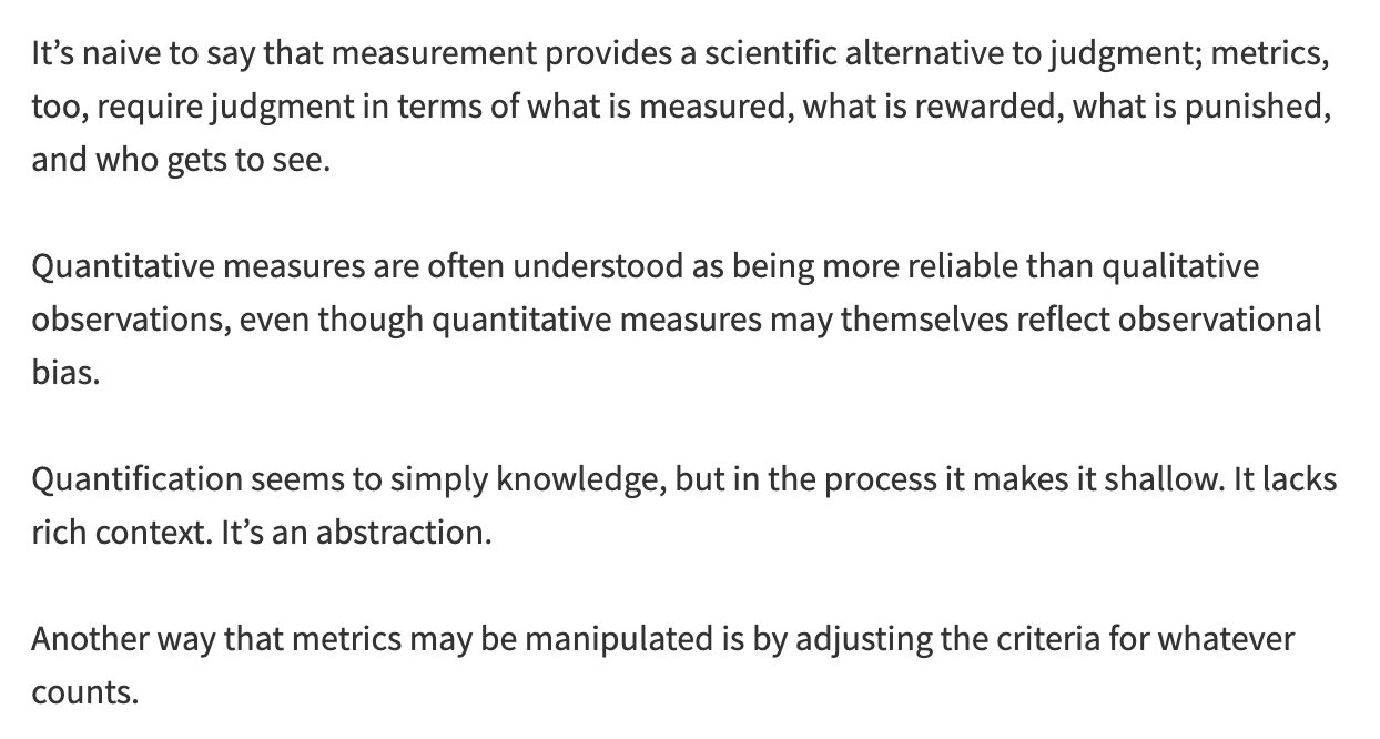 Notes on Jerry Z. Muller's The Tyranny of Metrics