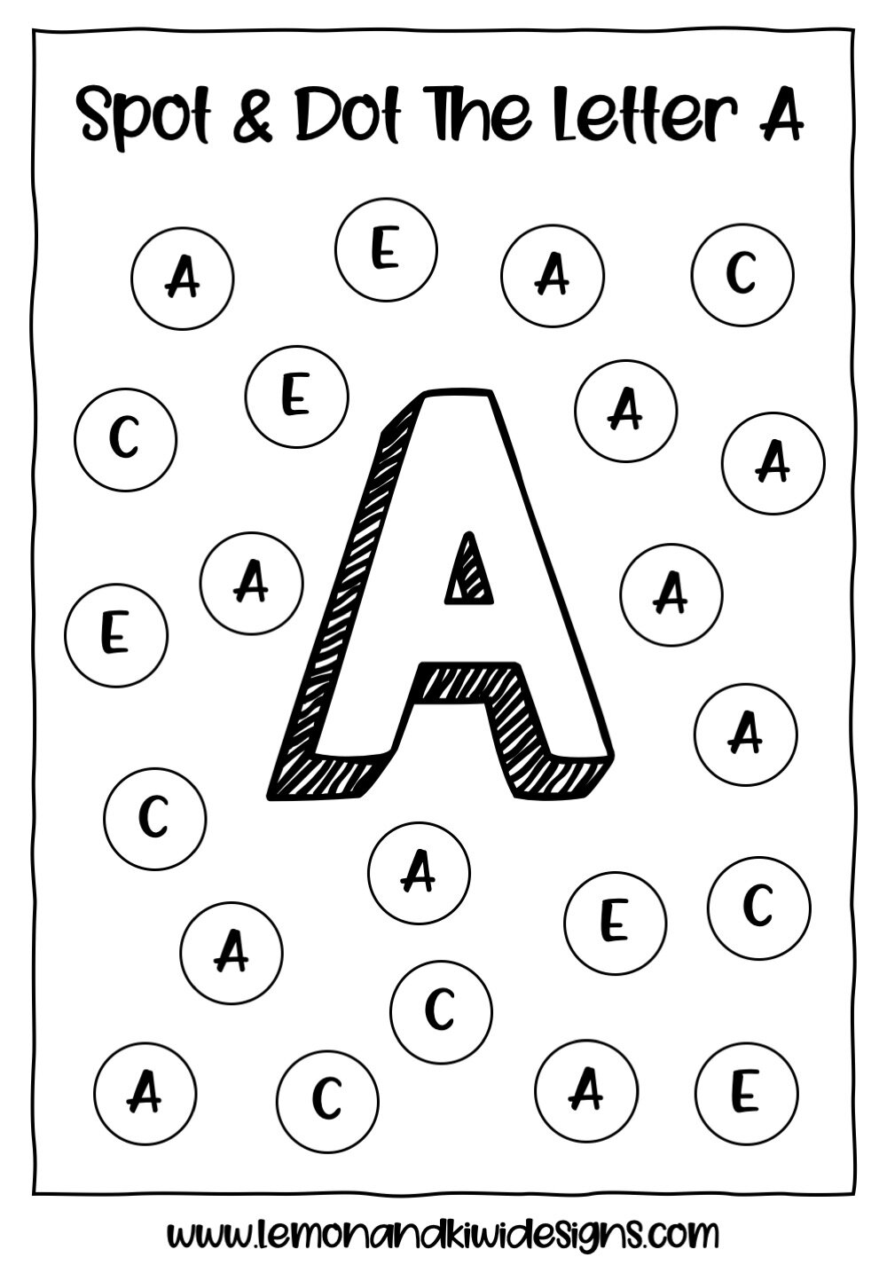 Alphabet Spot And Dot Free Do A Dot Printables Lemon Kiwi Designs